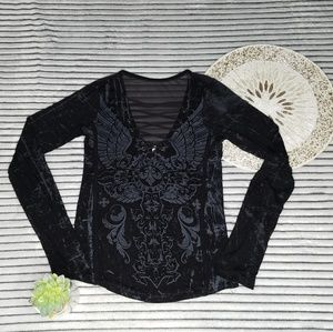 Affliction Lace Front Jewel Sheer Back Long Sleeve